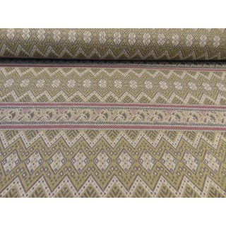 Jacquard in olive-grün-rosa Bordürenmuster/Recyclingstoff